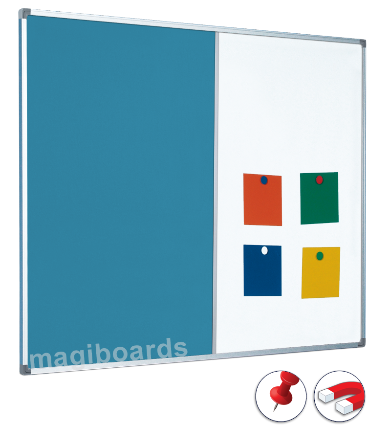 Whiteboard vector office notice board. Combination pin drywipe whiteboards