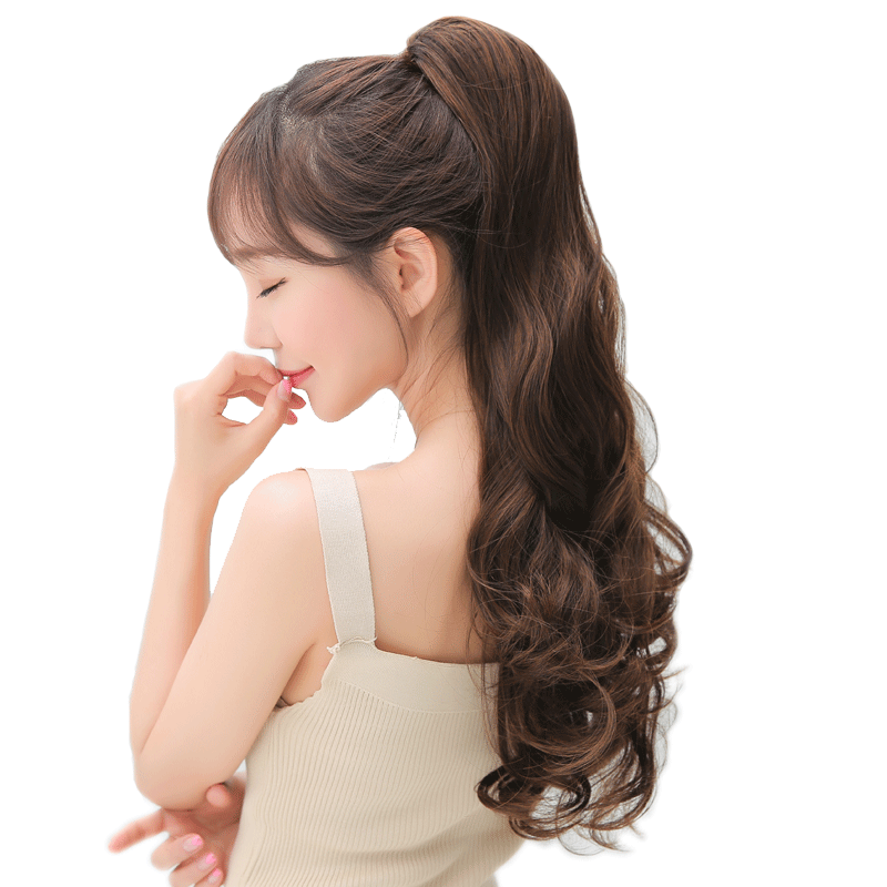 Wig clip ponytail. Female long curly hair