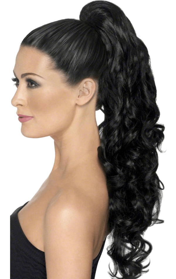 Wig clip ponytail. On curly black jokers