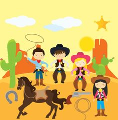 Wild west clipart attire. Cowboy digital clip art