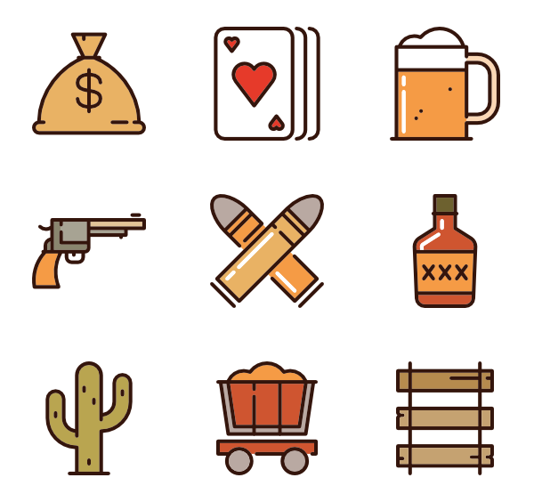 Vector cowboy horse icon. Wild icons free west