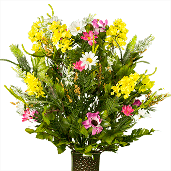 Wildflower bouquet png. Pink and yellow lg