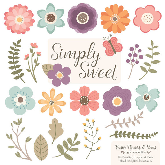 Wildflower clipart vintage wildflower. Cute flowers in vector