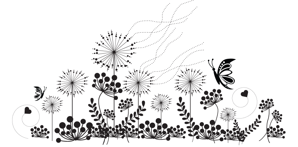 Silhouettes of simple wildflowers. Wildflower vector clip art black and white download