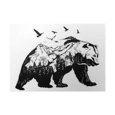 Wildlife drawing poster. Hand drawn bear for