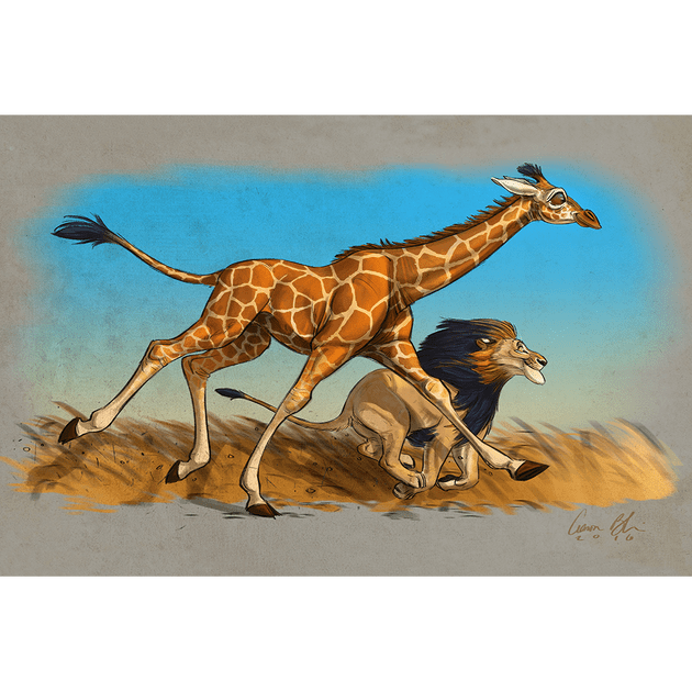 Wildlife drawing poster. The race art of