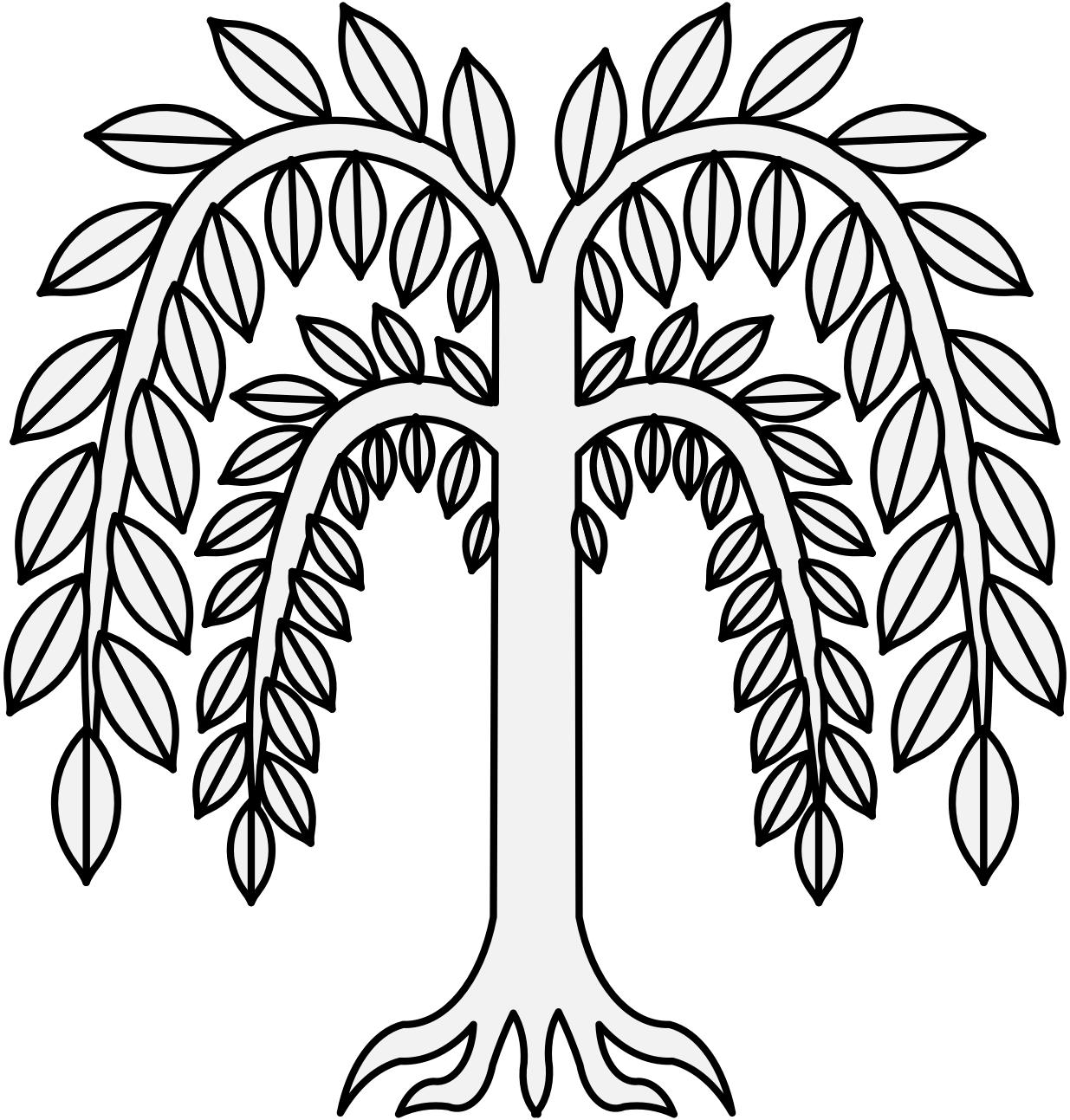 Willow drawing design. Traceable heraldic art pdf