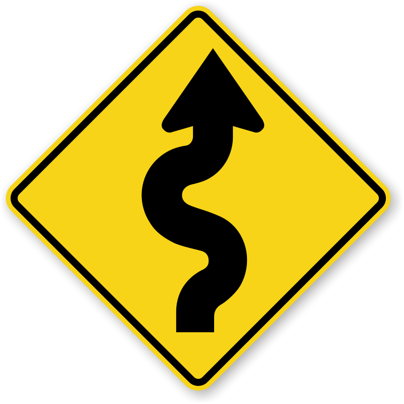 Winding road png. Right sign sharp turn