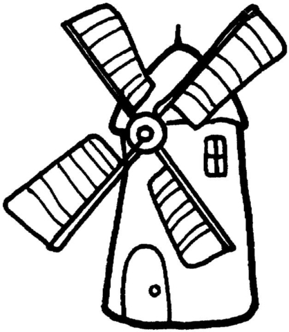 Windmill clipart black and white. Coloring page free printable
