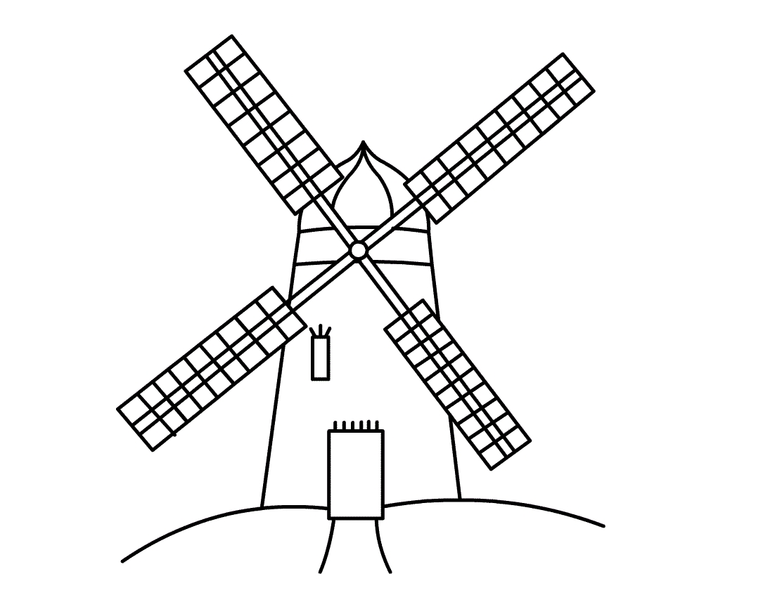 Windmill clipart black and white. Best of collection digital