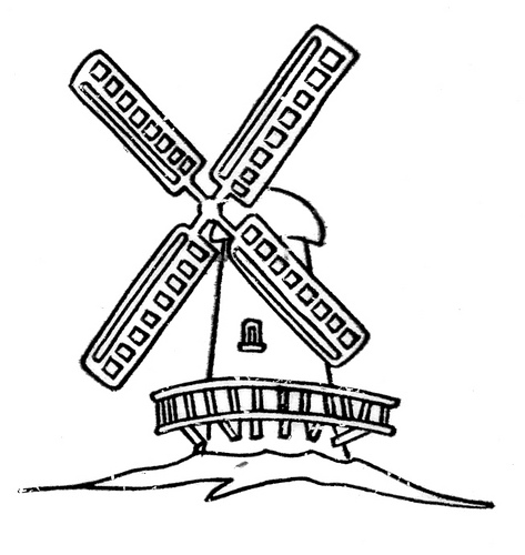 Windmill clipart black and white. Pencil in color