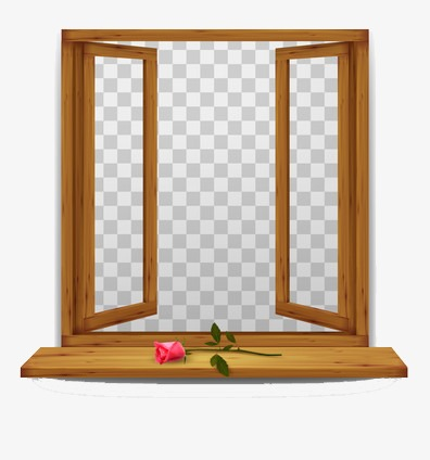 Window clipart opened window. Half open a rose