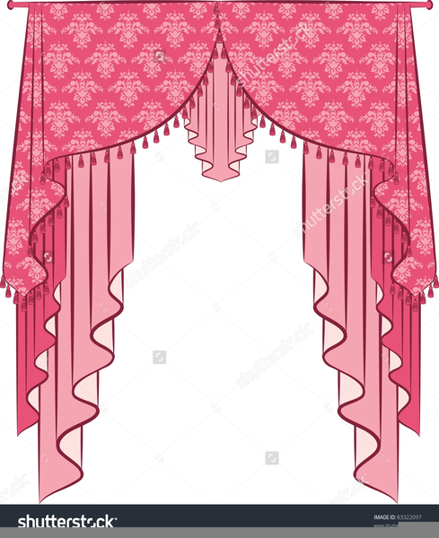 Window clipart pink window. Curtain and free images
