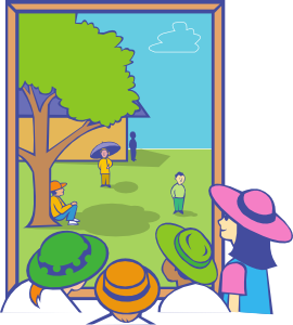 Window svg art clip. Kids looking out at