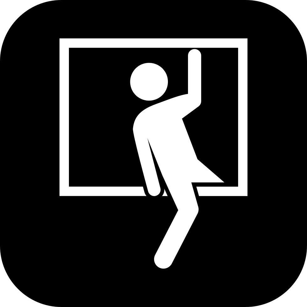 Window svg illustration. Robber entering by a