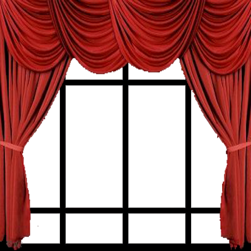 Window with curtains png.