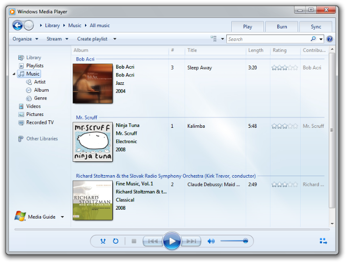 Windows media player 12 png. Type