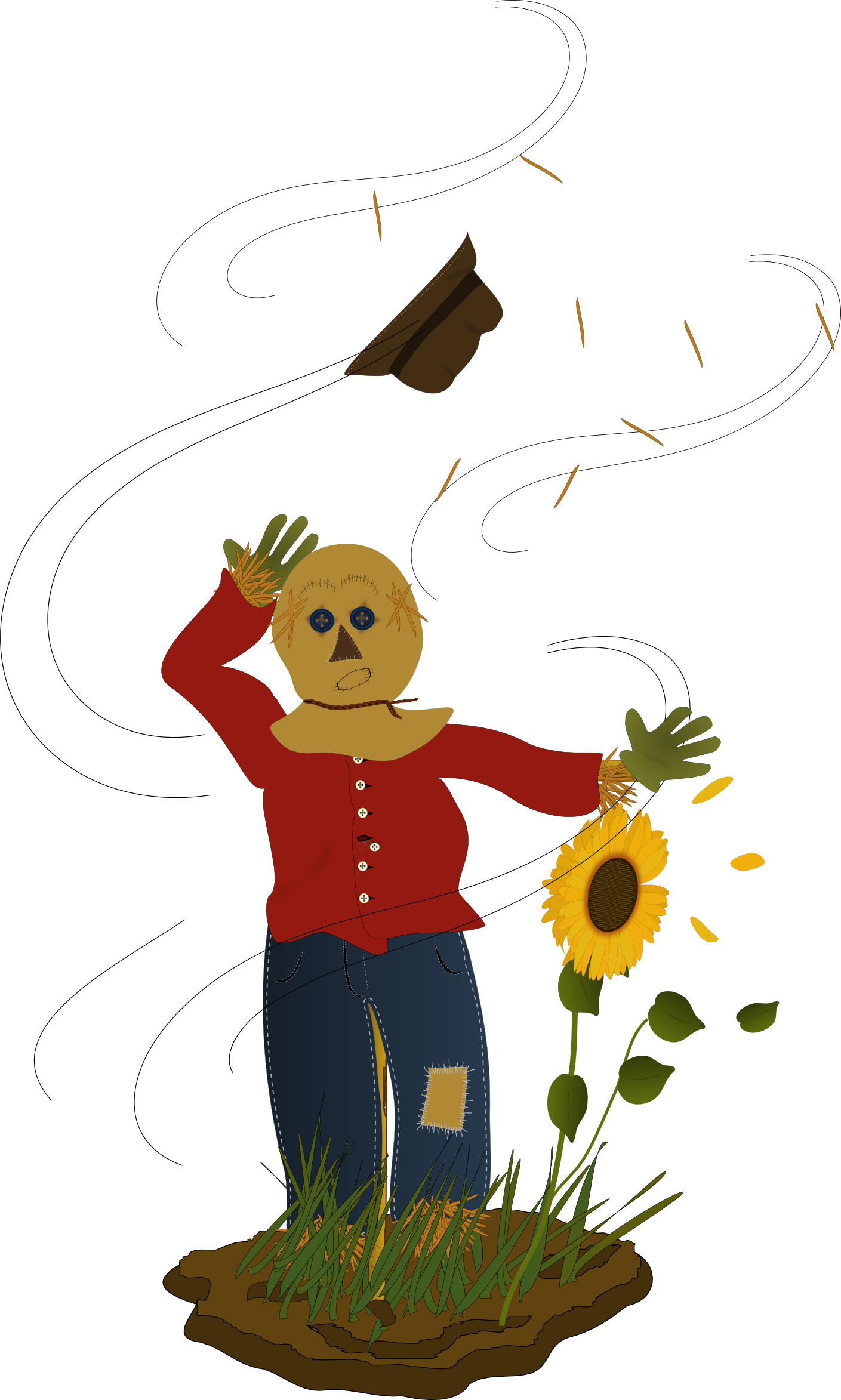 Scarecrow vector kid. Free pictures of wind