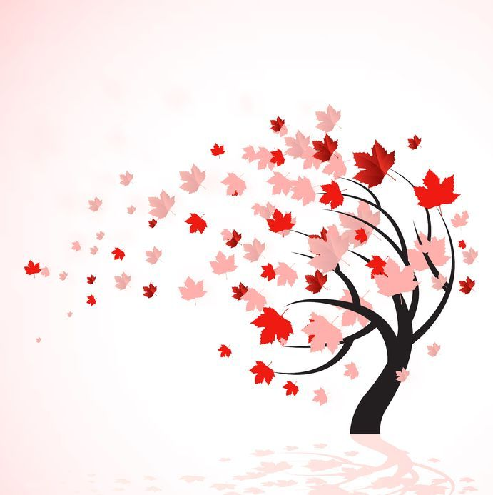 Windy clipart wind blown tree. Red and pink leaves