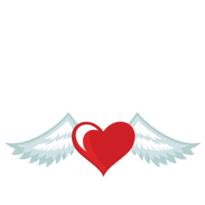 Wing svg heart. With wings cuts scrapbook
