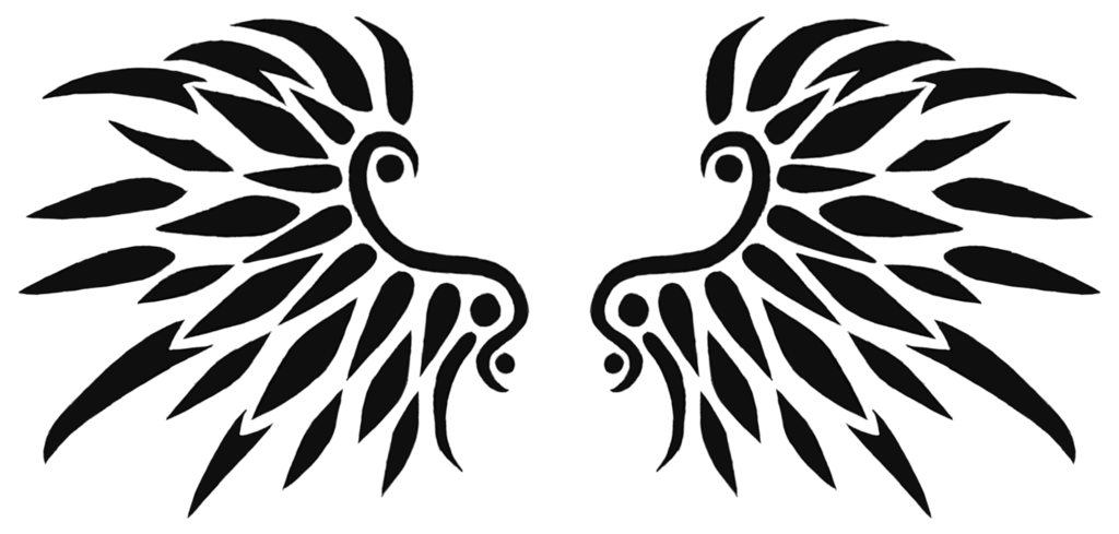 Wing tattoo png. Black wings design by
