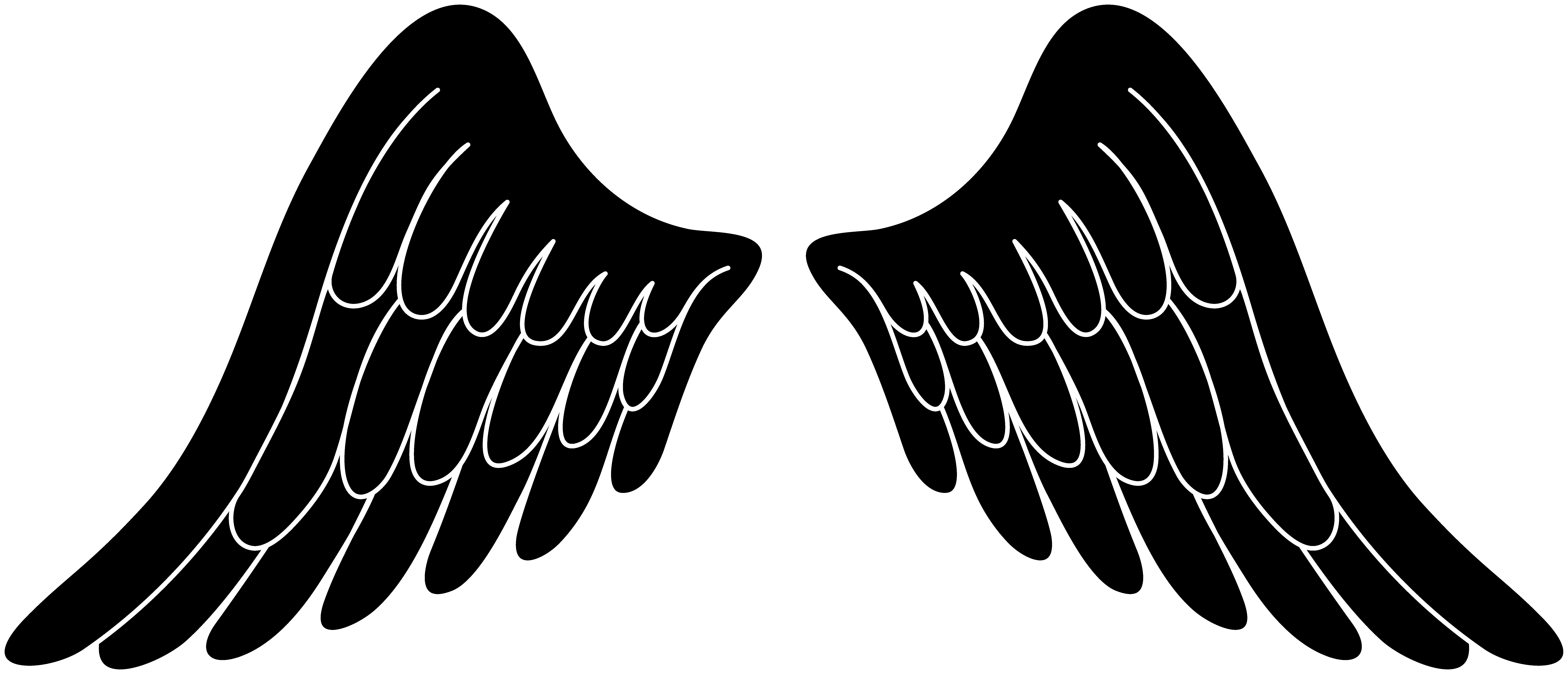Black angel wings . Demon clipart silhouette picture stock