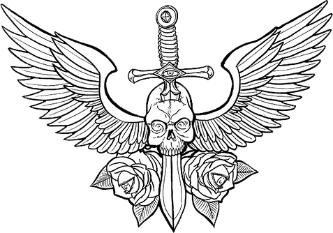 Wings tribal png. Skull with psd official
