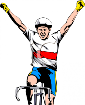 Cycling clipart cycling competition. Cyclist winning a race clip black and white download