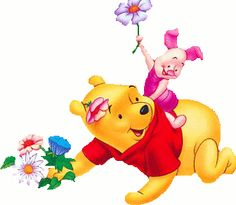 Winnie the pooh clipart spring. Gif images friends pinterest