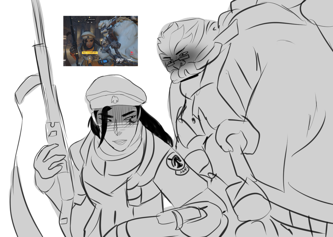 Winston transparent drawing. Overwatch ana and by