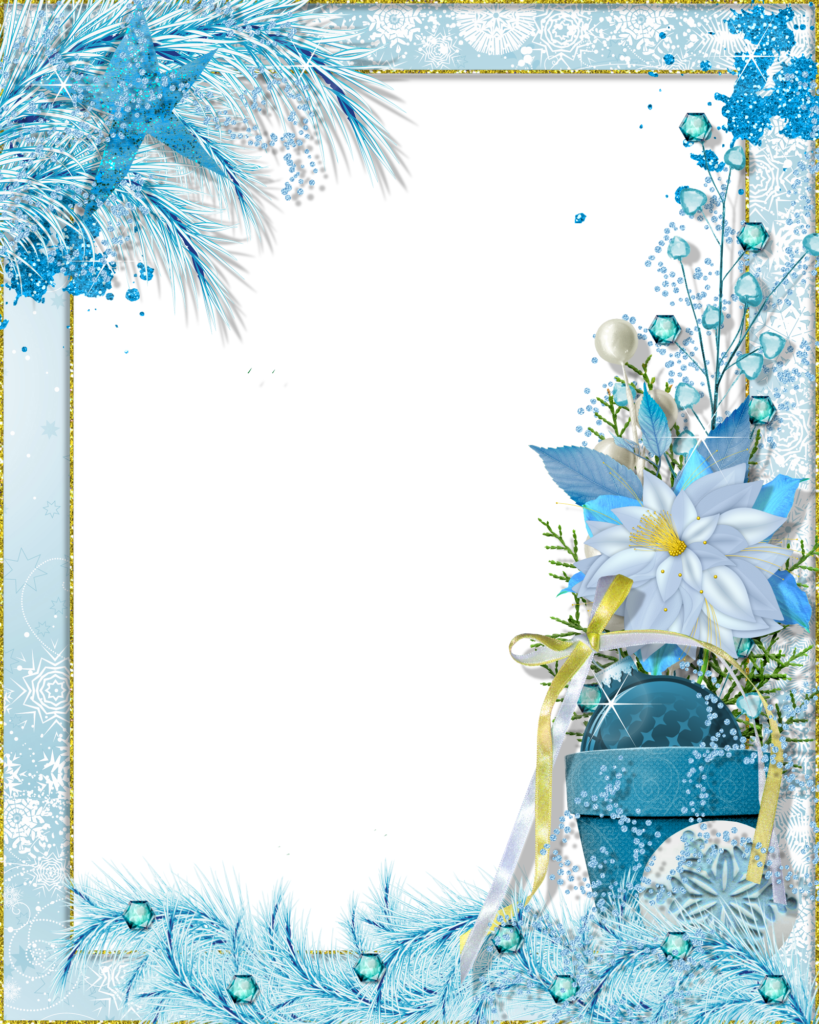 Winter border png. Transparent photo frame fantasy