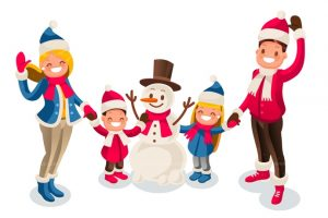 Celebration clipart family celebration. Winter fun isometric people