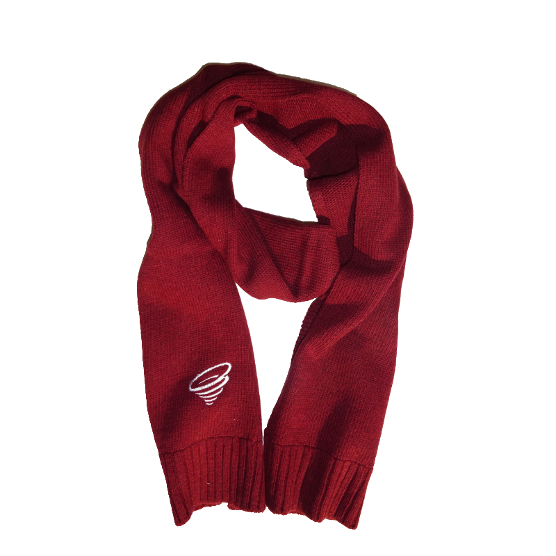 Winter scarf png. Elegant knitted burgundy