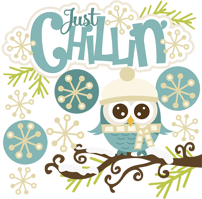 Snow svg clip art. Just chillin owl winter