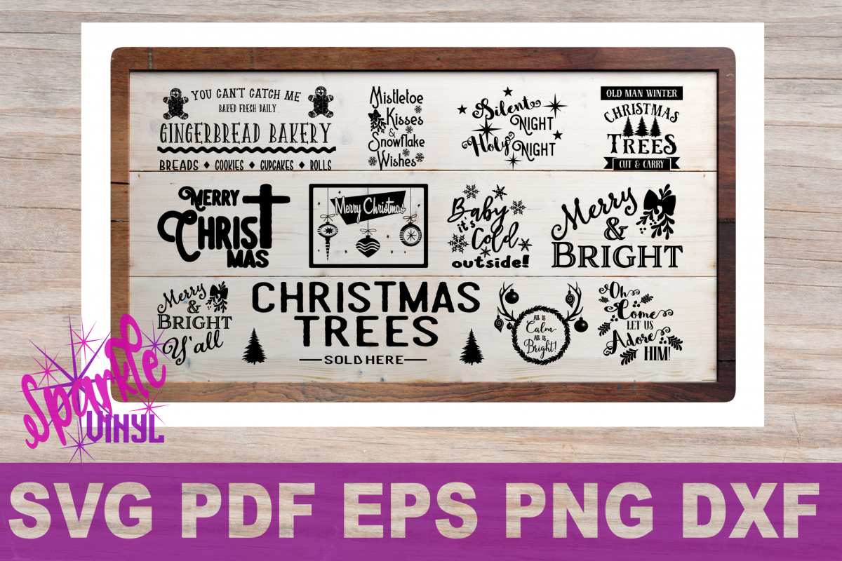 Winter svg dxf. Christmas sign stencil bundle