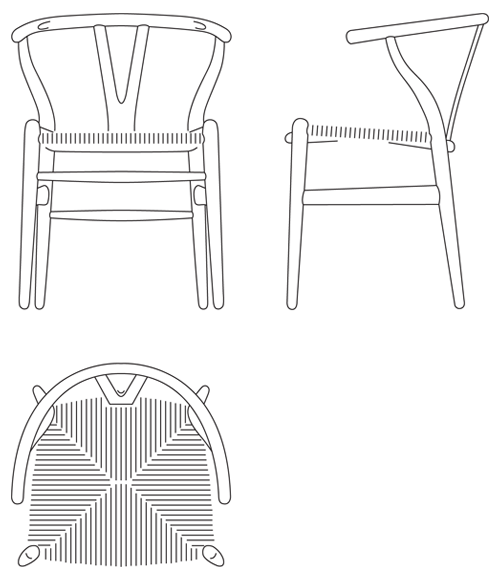 Armchair drawing furniture line. Wishbone chair ch by