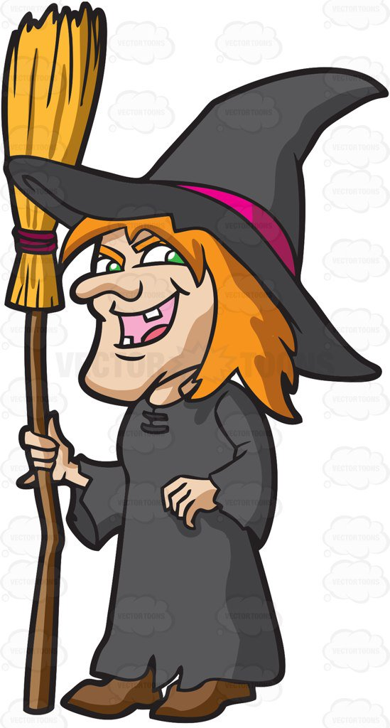 Witches clipart. A laughing witch cartoon vector library stock