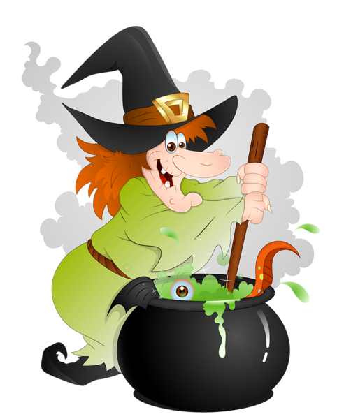 Witches clipart. Halloween witch with cauldron