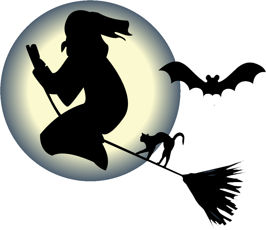 Halloween witch png. Free flying on a