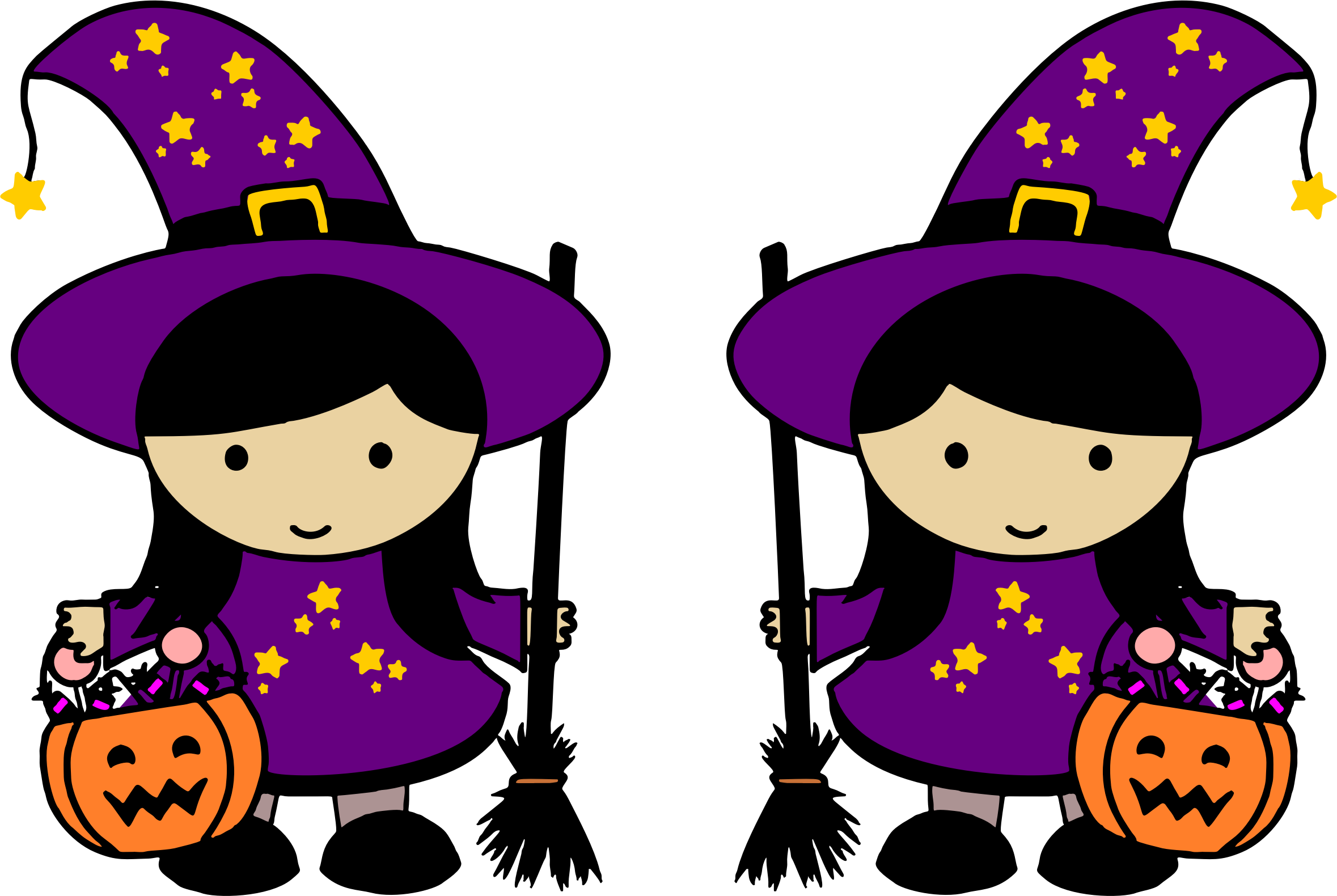 Witches clipart. Twin halloween big image royalty free library
