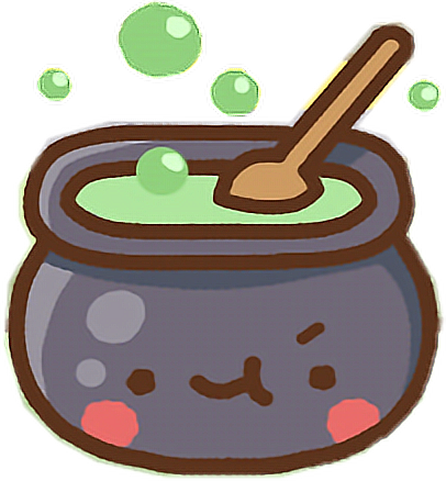 Drawing witches kawaii. Cauldron cute witch clawbert