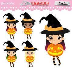 Witches clipart kawaii. Witch cuties halloween trick jpg royalty free stock