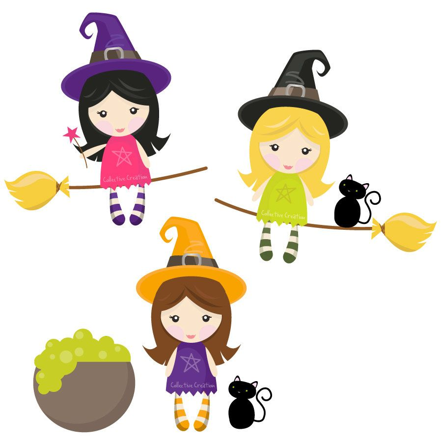 Witches clipart. Little digital set clip