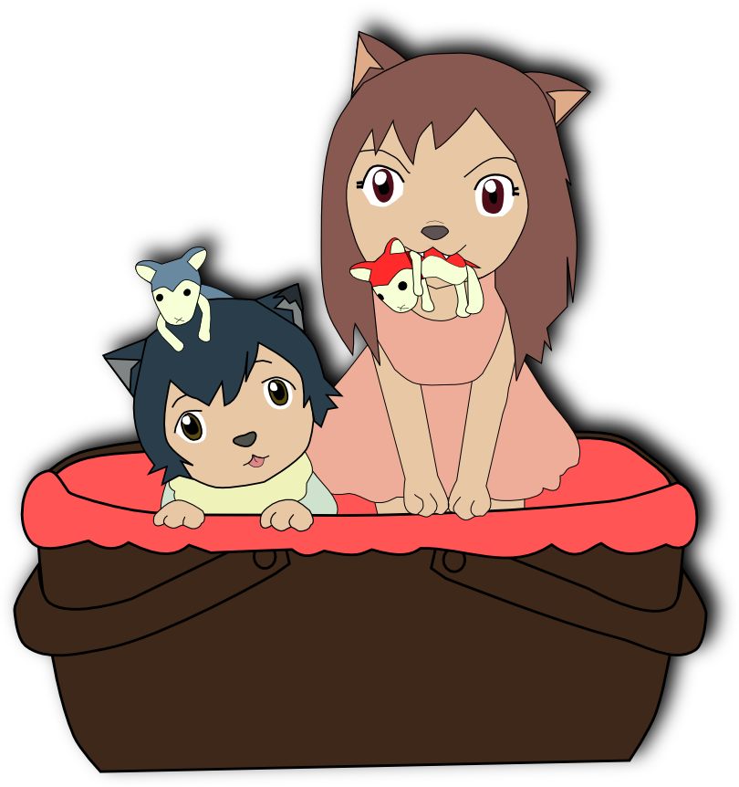 Wolf children png. Ame and yuki by
