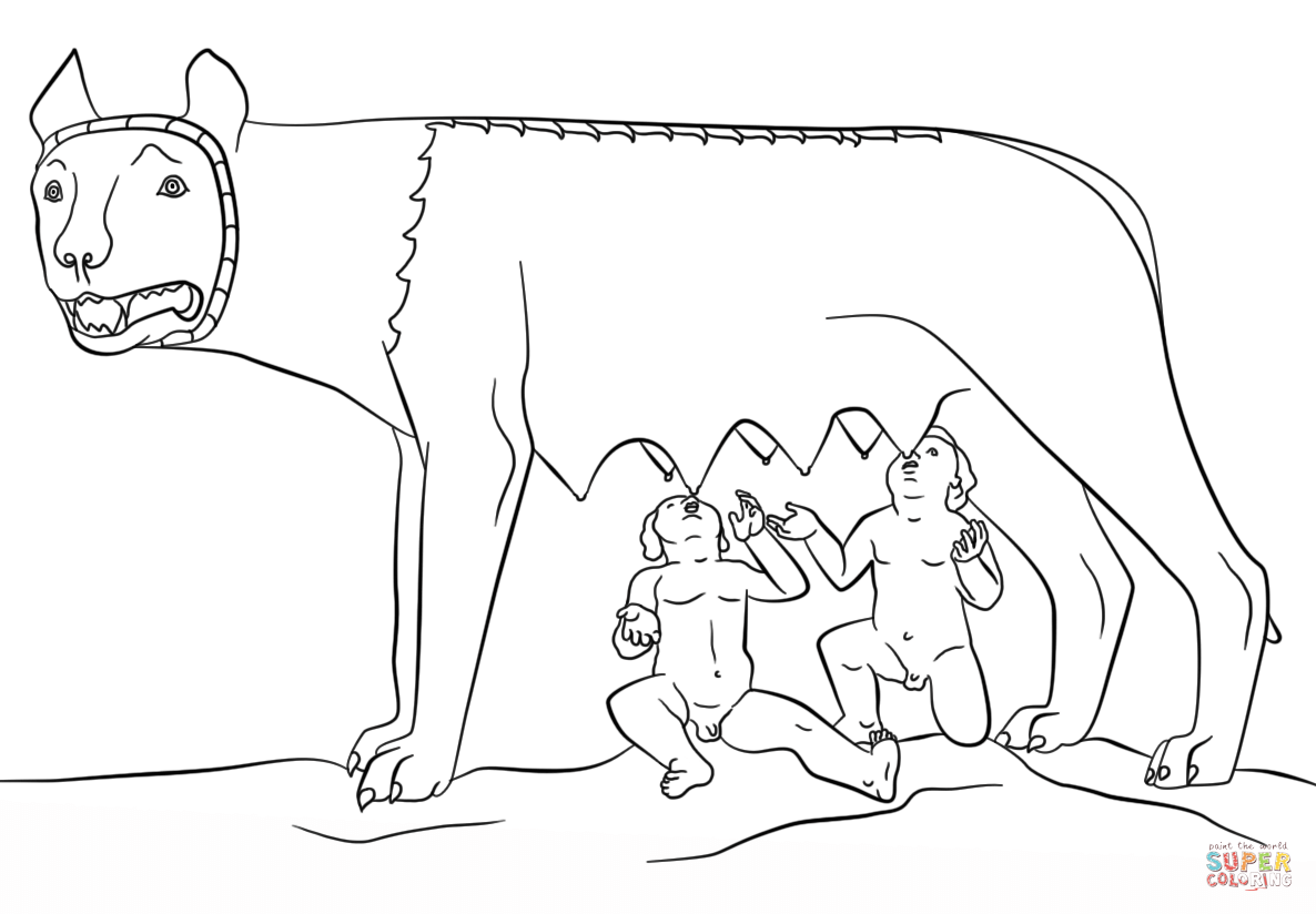 Wolf clipart she wolf. Romulus and remus with