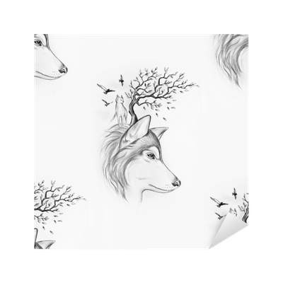 Wolfs drawing background. Seamless of a wolf