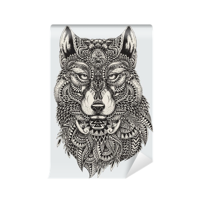 Wolfs drawing detailed. Highly abstract wolf illustration