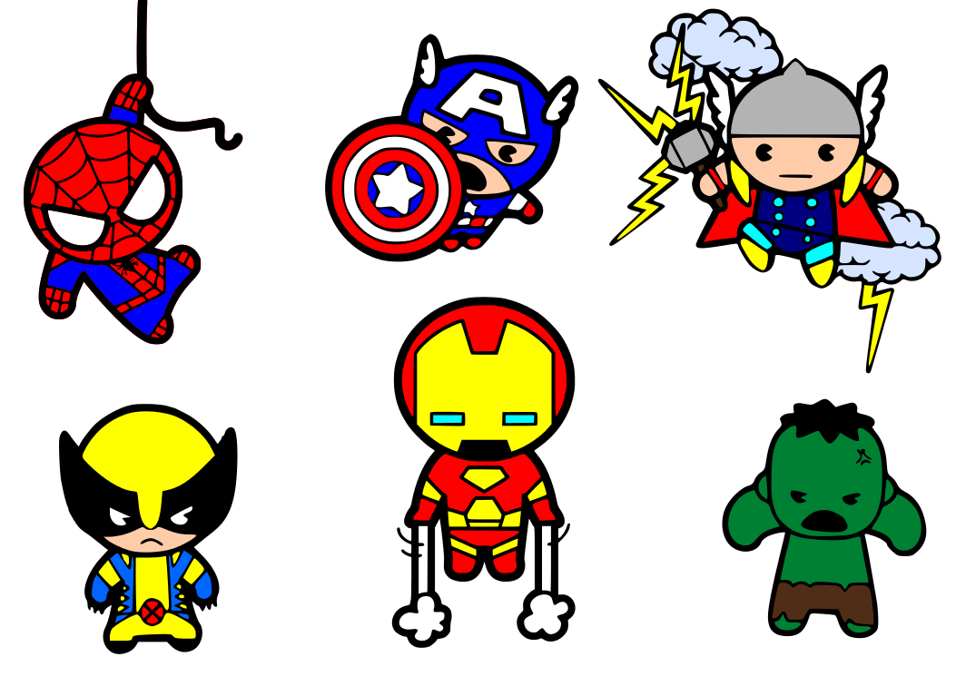 Wolverine clipart kawaii. Superheroes svg files are