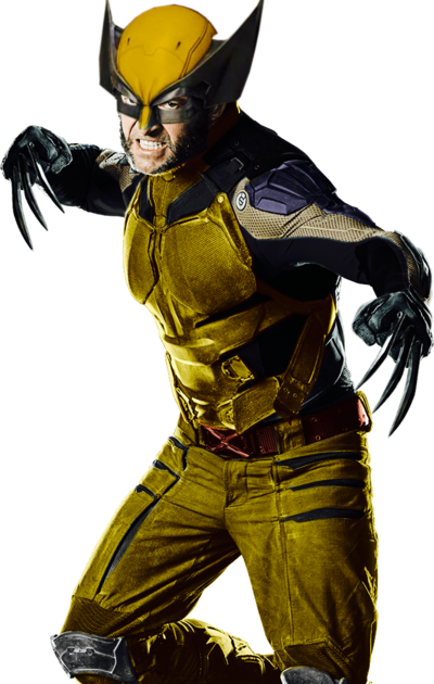 Wolverine yellow suit png. Comic film by spider