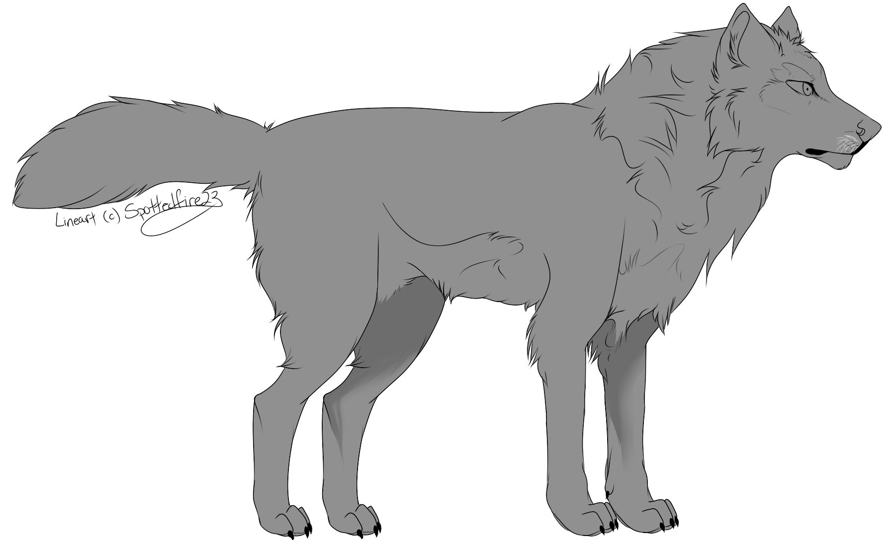 Wolves transparent digital art. Free wolf lineart by